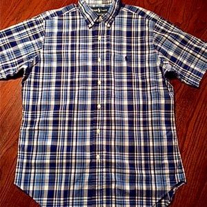 POLO Ralph Lauren MED. Men Blue Plaid Short Sleeve